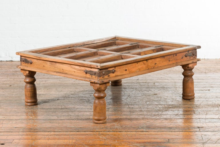 Indian 19th Century Sheesham Wood Courtyard Door Redesigned as a Coffee Table In Good Condition For Sale In Yonkers, NY