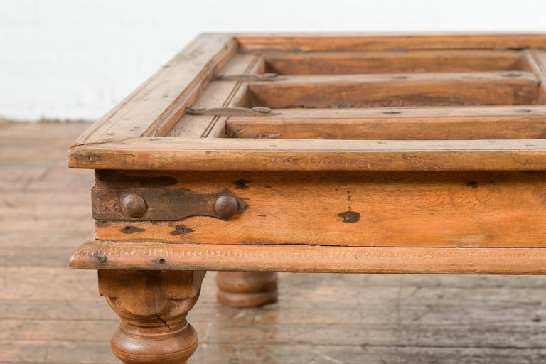 Metal Indian 19th Century Sheesham Wood Courtyard Door Redesigned as a Coffee Table For Sale