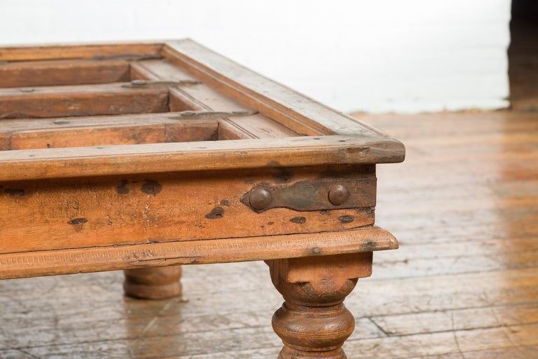 Indian 19th Century Sheesham Wood Courtyard Door Redesigned as a Coffee Table For Sale 1