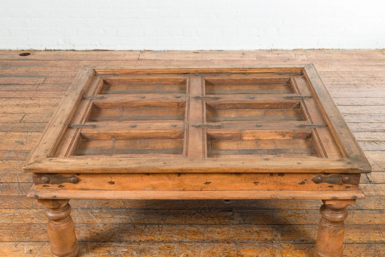 Indian 19th Century Sheesham Wood Courtyard Door Redesigned as a Coffee Table For Sale 3