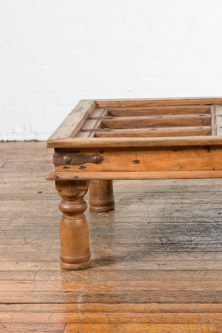 Indian 19th Century Sheesham Wood Courtyard Door Redesigned as a Coffee Table For Sale 4