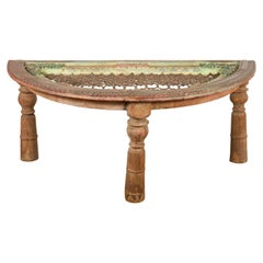 Indian 19th Century Sheesham Wood Low Demilune Table with Window Grate Iron Top