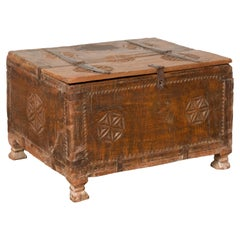 Indian 19th Century Small Wooden Box with Iron Hardware and Carved Rosacea