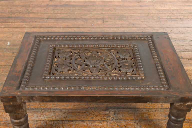 Indian 19th Century Small Wooden Coffee Table with Carved Floral Motifs For Sale 7