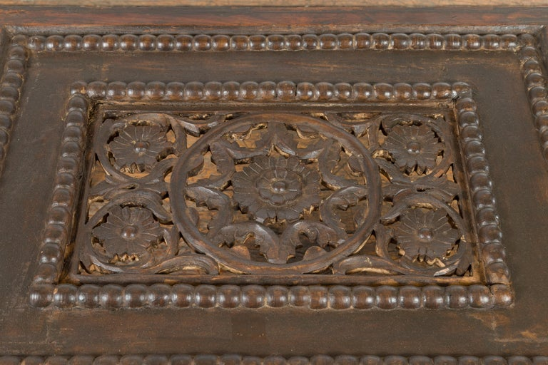 Indian 19th Century Small Wooden Coffee Table with Carved Floral Motifs For Sale 8