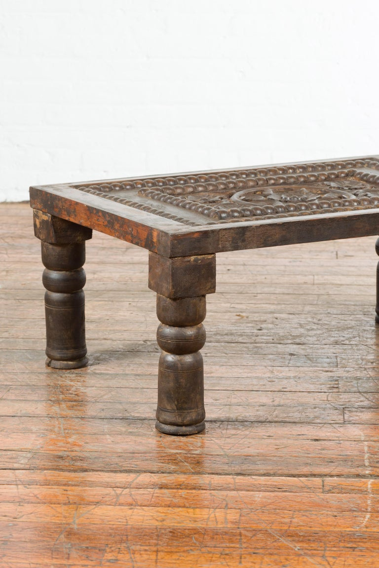 Indian 19th Century Small Wooden Coffee Table with Carved Floral Motifs For Sale 9