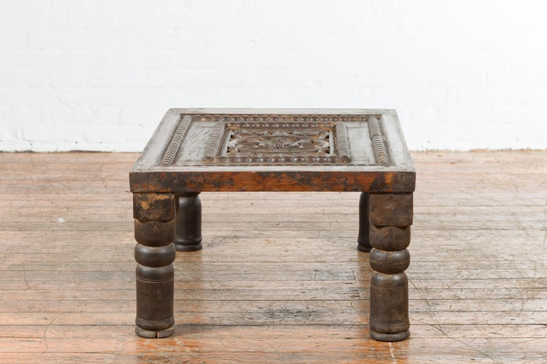 Indian 19th Century Small Wooden Coffee Table with Carved Floral Motifs For Sale 10