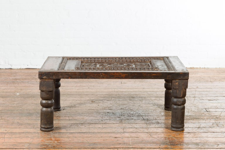 Indian 19th Century Small Wooden Coffee Table with Carved Floral Motifs For Sale 11