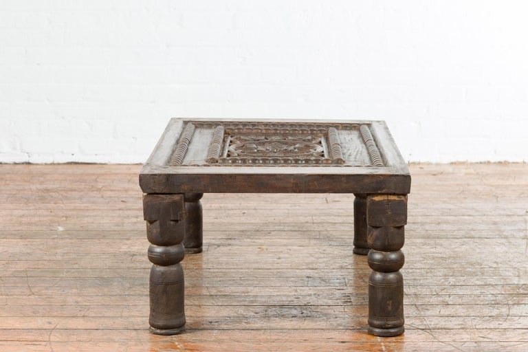 Indian 19th Century Small Wooden Coffee Table with Carved Floral Motifs For Sale 12
