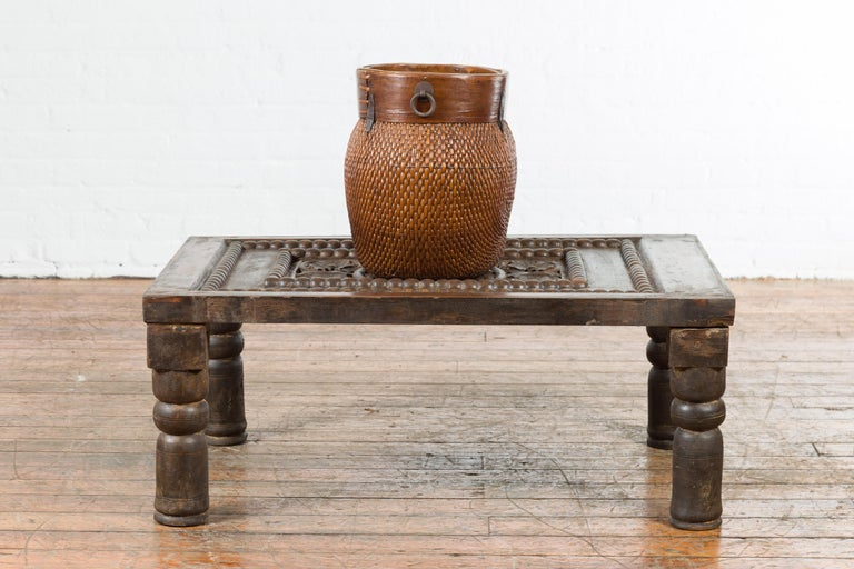 Indian 19th Century Small Wooden Coffee Table with Carved Floral Motifs For Sale 1