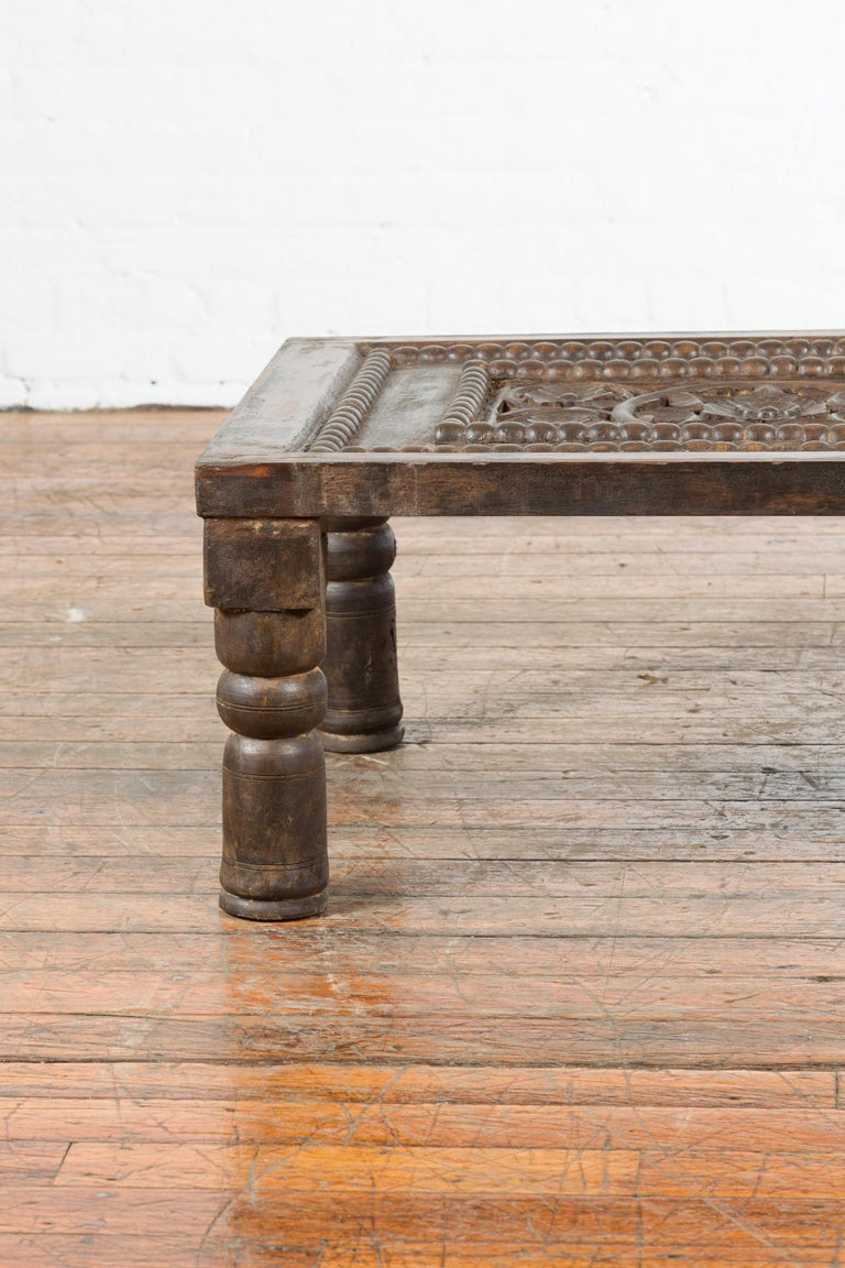 Indian 19th Century Small Wooden Coffee Table with Carved Floral Motifs For Sale 2