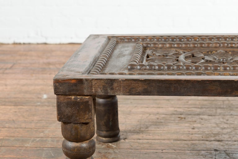 Indian 19th Century Small Wooden Coffee Table with Carved Floral Motifs For Sale 4