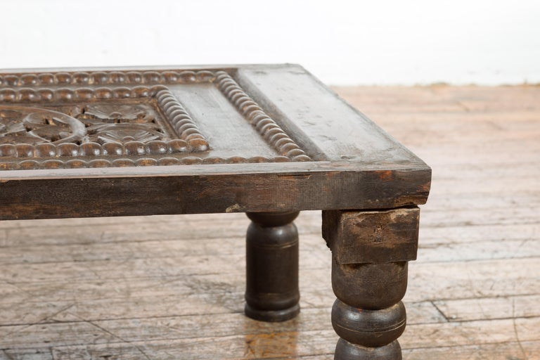 Indian 19th Century Small Wooden Coffee Table with Carved Floral Motifs For Sale 5