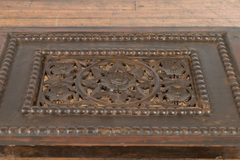 Indian 19th Century Small Wooden Coffee Table with Carved Floral Motifs For Sale 6