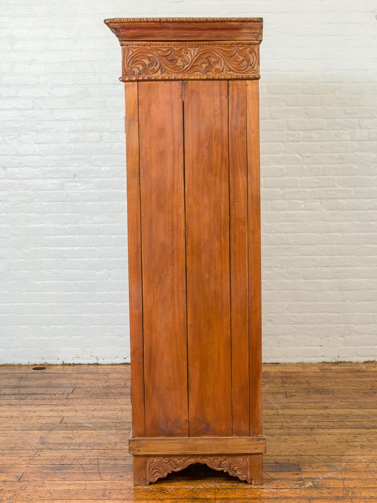 Indian 19th Century Tall Cabinet with Carved Scrolling Foliage and Beaded Motifs For Sale 13