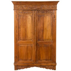 Indian 19th Century Tall Cabinet with Carved Scrolling Foliage and Beaded Motifs