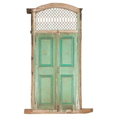 Indian 19th Century Wood and Grate Window with Green Paint and Distressed Patina