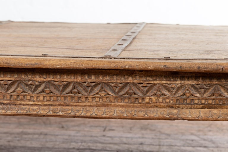 Indian 19th Century Wooden and Iron Courtyard Door Made into a Coffee Table For Sale 6