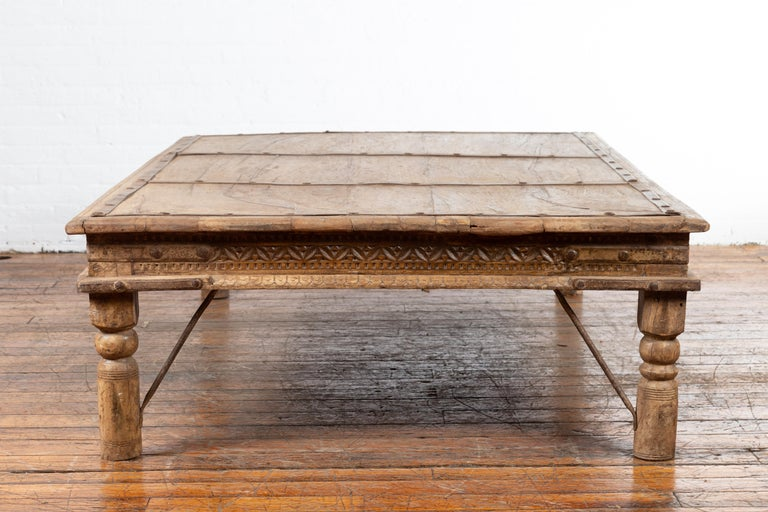 Indian 19th Century Wooden and Iron Courtyard Door Made into a Coffee Table For Sale 7