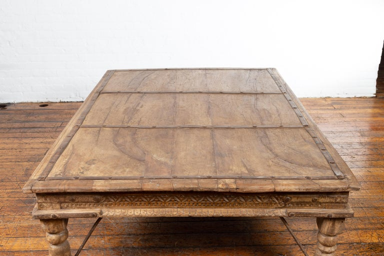 Indian 19th Century Wooden and Iron Courtyard Door Made into a Coffee Table For Sale 8