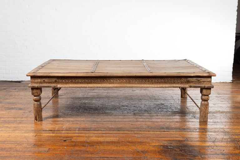 Indian 19th Century Wooden and Iron Courtyard Door Made into a Coffee Table For Sale 9