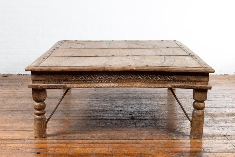 Indian 19th Century Wooden and Iron Courtyard Door Made into a Coffee Table For Sale 10