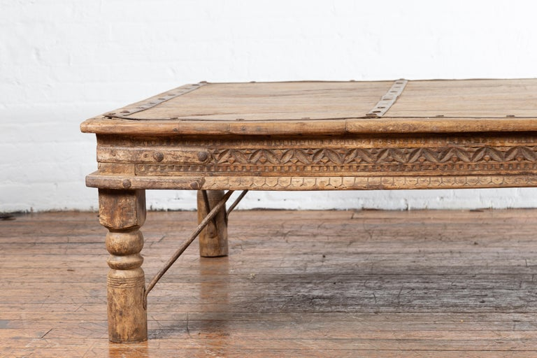 Indian 19th Century Wooden and Iron Courtyard Door Made into a Coffee Table For Sale 1