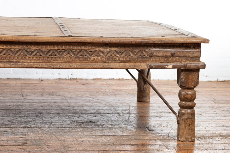 Indian 19th Century Wooden and Iron Courtyard Door Made into a Coffee Table For Sale 2