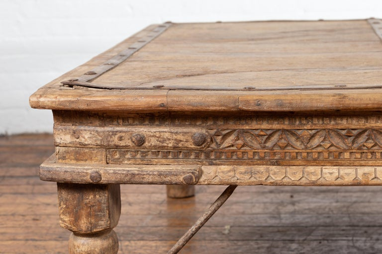 Indian 19th Century Wooden and Iron Courtyard Door Made into a Coffee Table For Sale 3