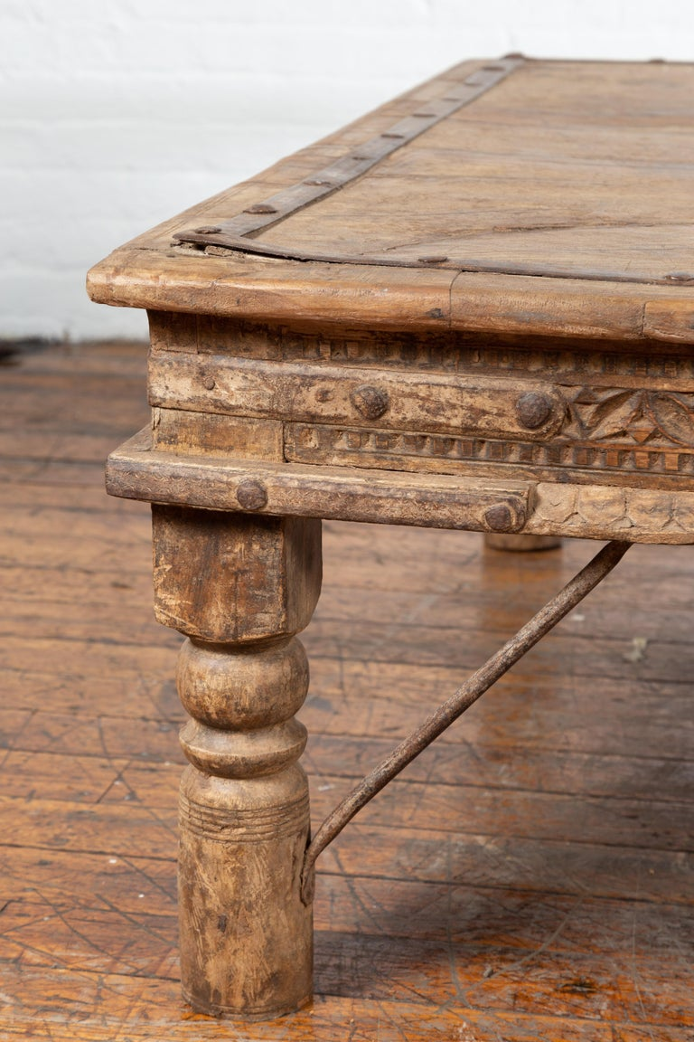 Indian 19th Century Wooden and Iron Courtyard Door Made into a Coffee Table For Sale 4