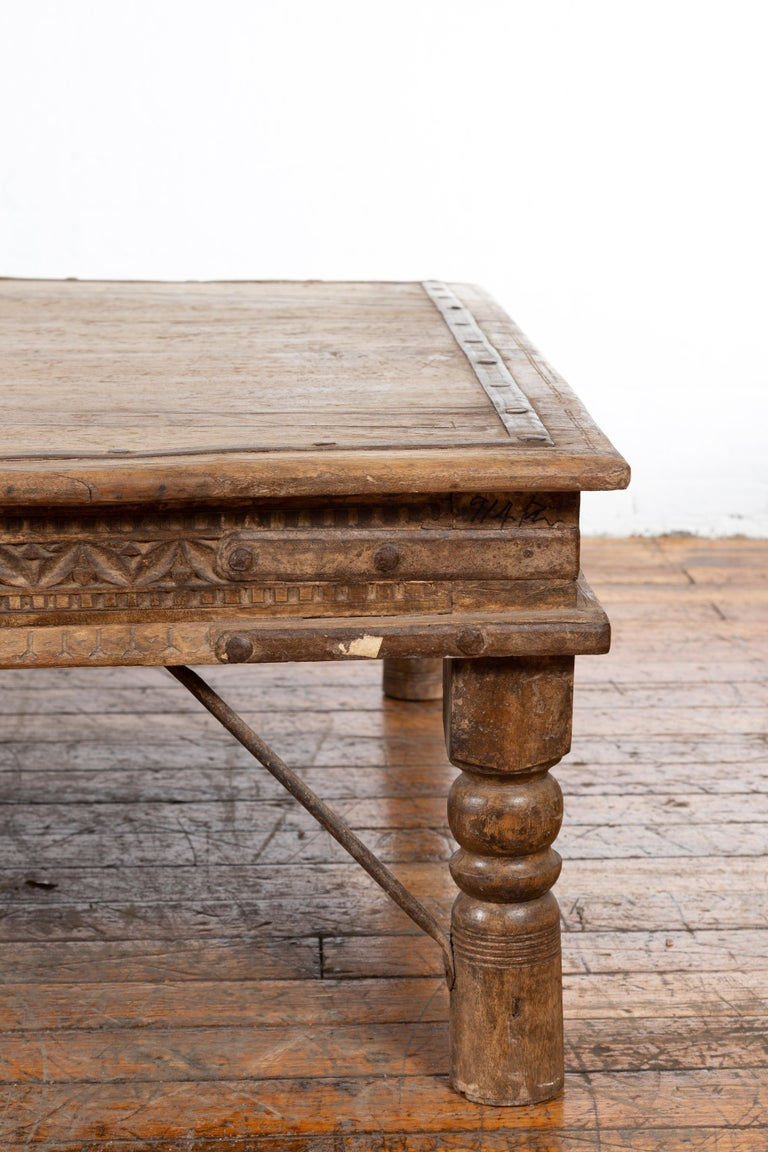 Indian 19th Century Wooden and Iron Courtyard Door Made into a Coffee Table For Sale 5