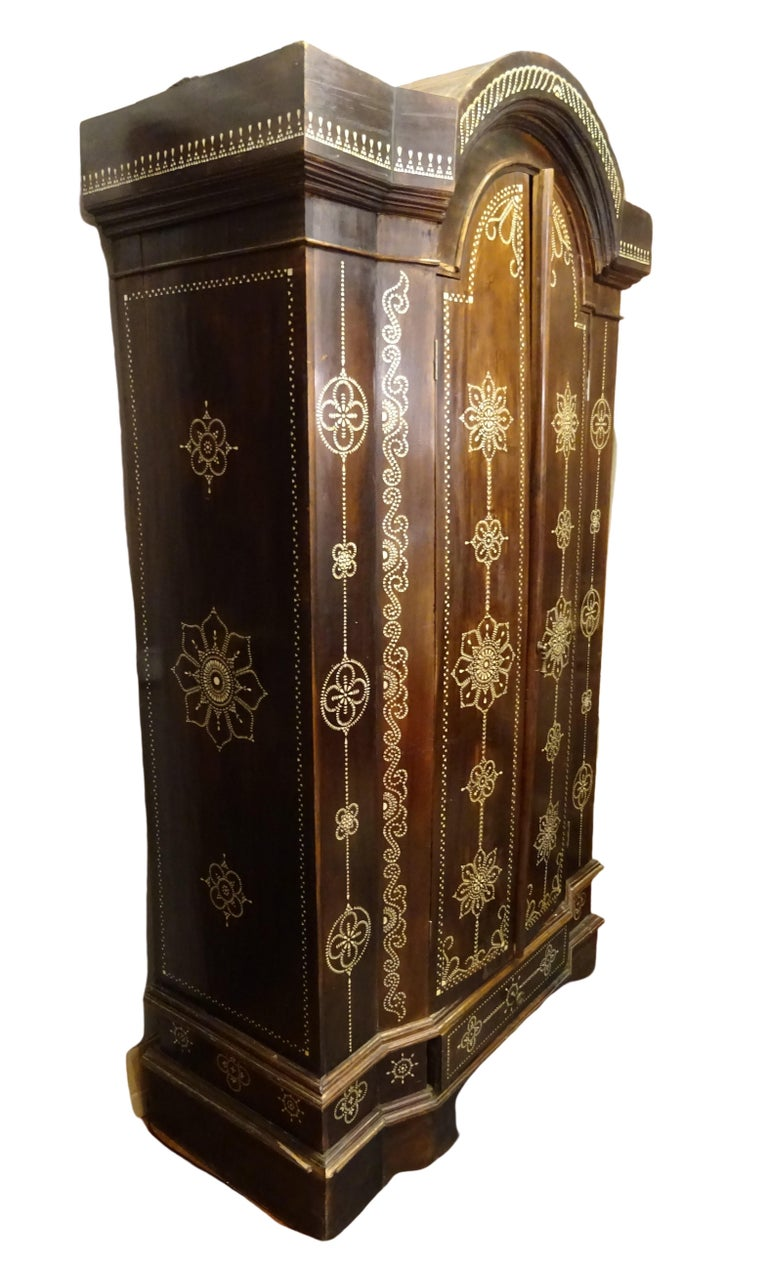 Inlay Indian 20th  Wardrobe Mother of Pearl Inlaid Wooden , with Mandalas For Sale