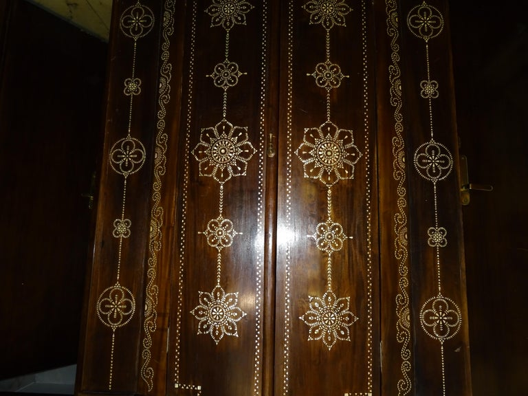 Mid-20th Century Indian 20th  Wardrobe Mother of Pearl Inlaid Wooden , with Mandalas For Sale