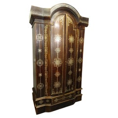 Indian 20th  Wardrobe Mother of Pearl Inlaid Wooden , with Mandalas
