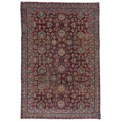 Indian Agra Carpet, Burgundy Field