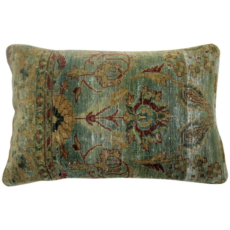 Indian Agra Rug Pillow For Sale