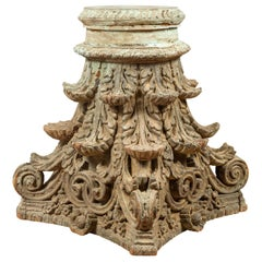 Indian Antique Corinthian Temple Capital Carving with Distressed Patina