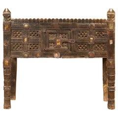 Indian Antique Damachiya Cabinet on Legs with Geometric Design and Horse Heads