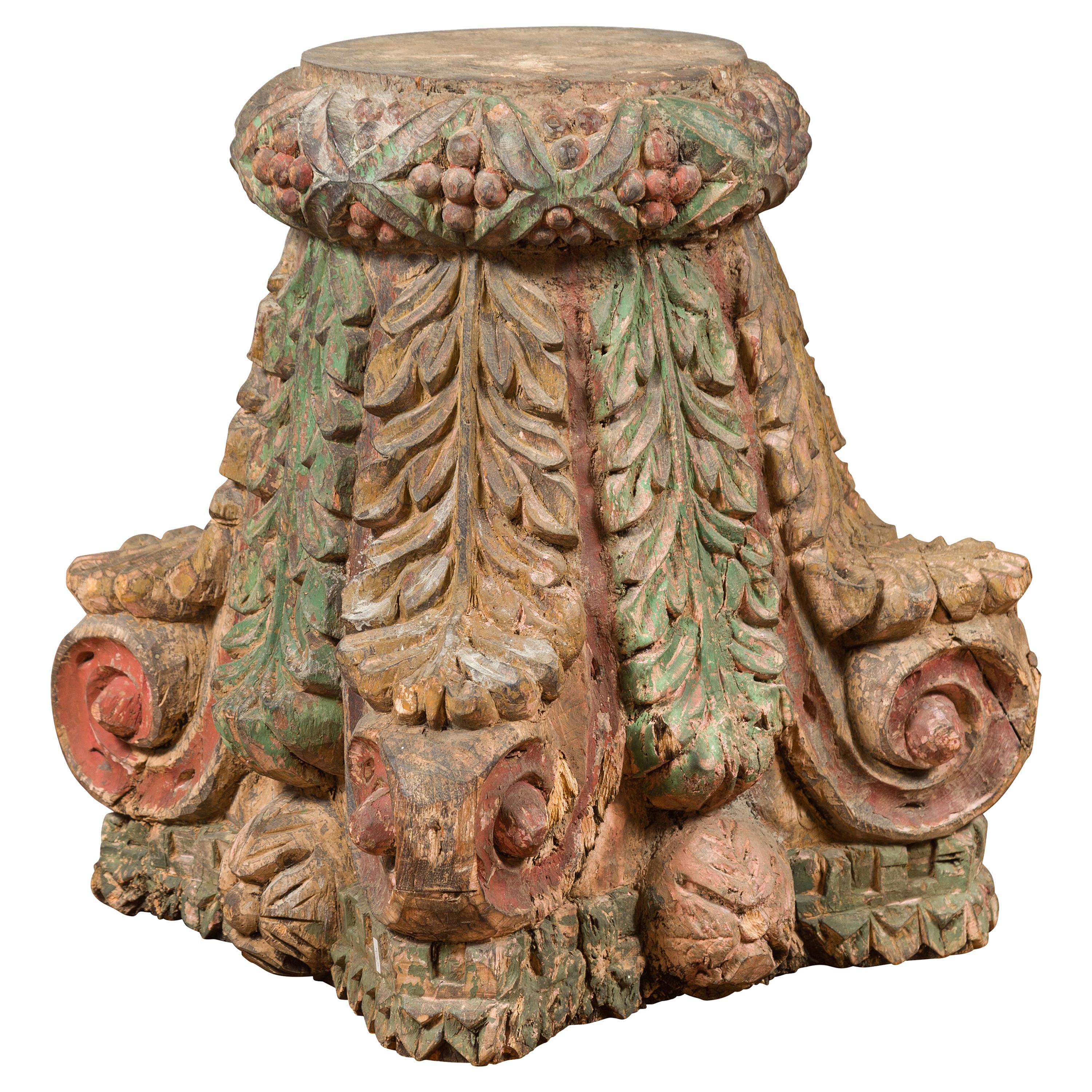 Indian Antique Temple Foliage Carved Capital with Original Green and Red Paint