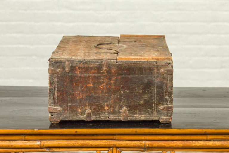 Indian Antique Wooden Dowry Box with Geometric Motifs and Weathered Patina For Sale 6