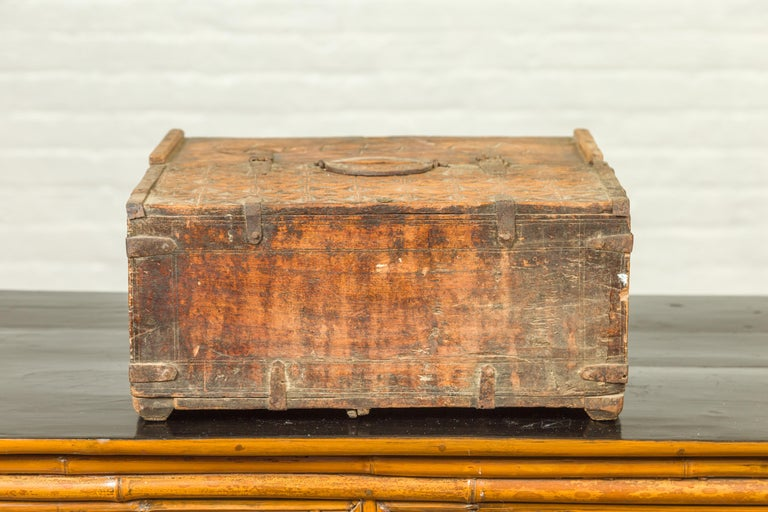 Indian Antique Wooden Dowry Box with Geometric Motifs and Weathered Patina For Sale 7