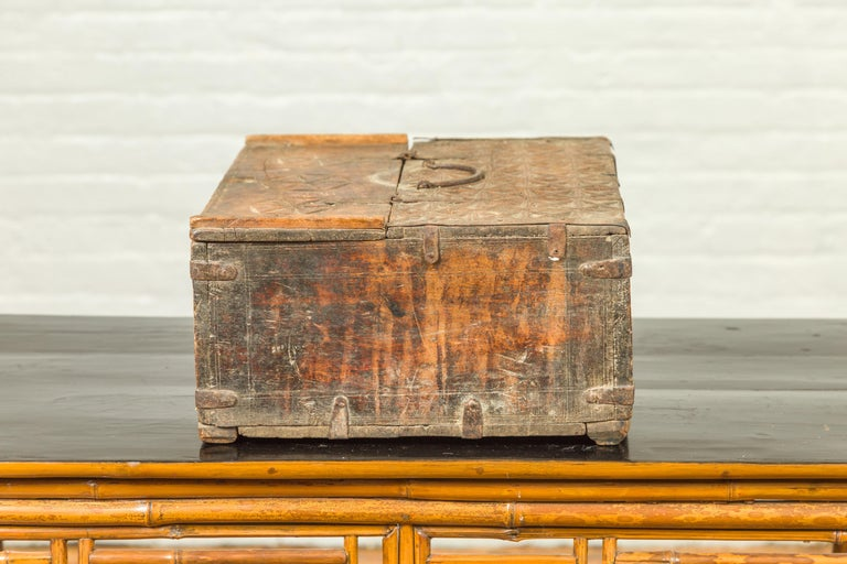 Indian Antique Wooden Dowry Box with Geometric Motifs and Weathered Patina For Sale 8
