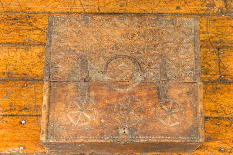 Indian Antique Wooden Dowry Box with Geometric Motifs and Weathered Patina For Sale 9