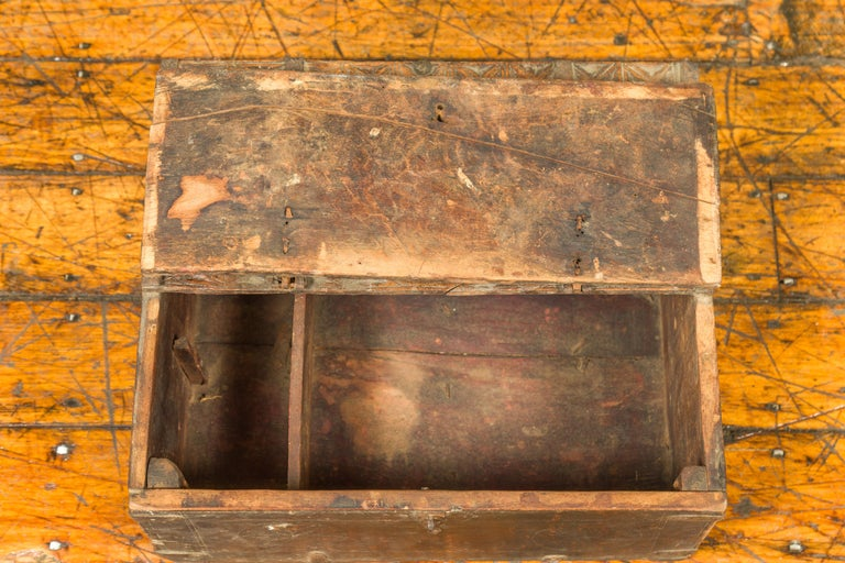 Indian Antique Wooden Dowry Box with Geometric Motifs and Weathered Patina For Sale 10