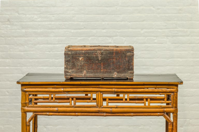 19th Century Indian Antique Wooden Dowry Box with Geometric Motifs and Weathered Patina For Sale