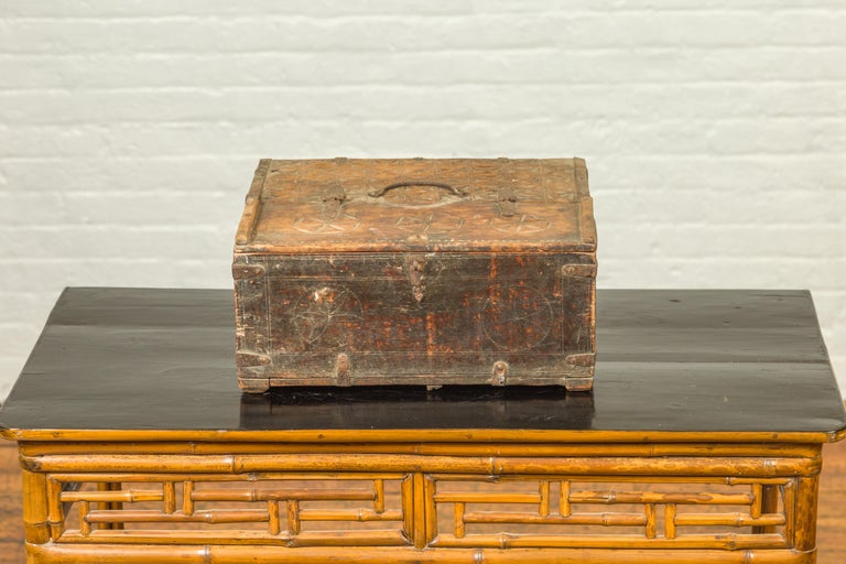 Indian Antique Wooden Dowry Box with Geometric Motifs and Weathered Patina For Sale 1