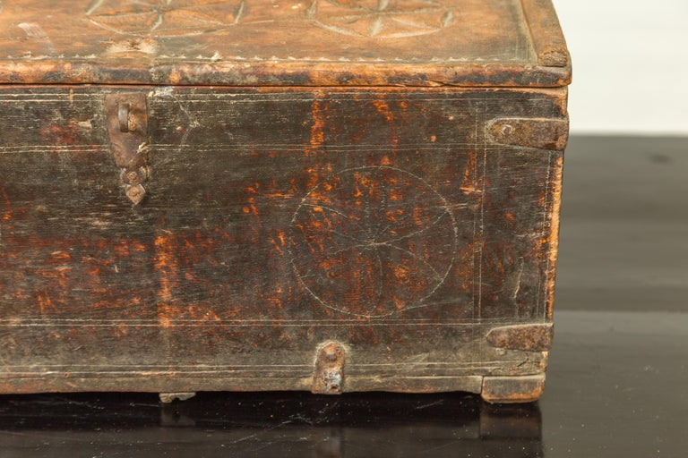 Indian Antique Wooden Dowry Box with Geometric Motifs and Weathered Patina For Sale 3