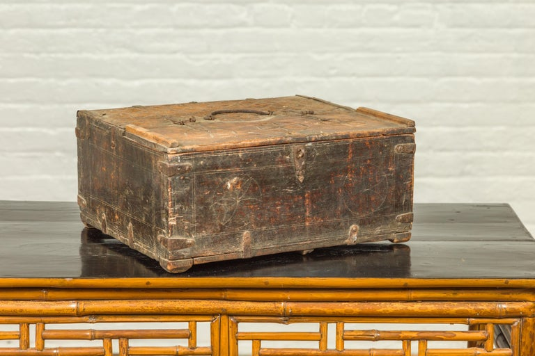 Indian Antique Wooden Dowry Box with Geometric Motifs and Weathered Patina For Sale 4
