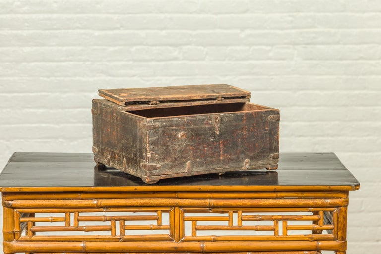 Indian Antique Wooden Dowry Box with Geometric Motifs and Weathered Patina For Sale 5