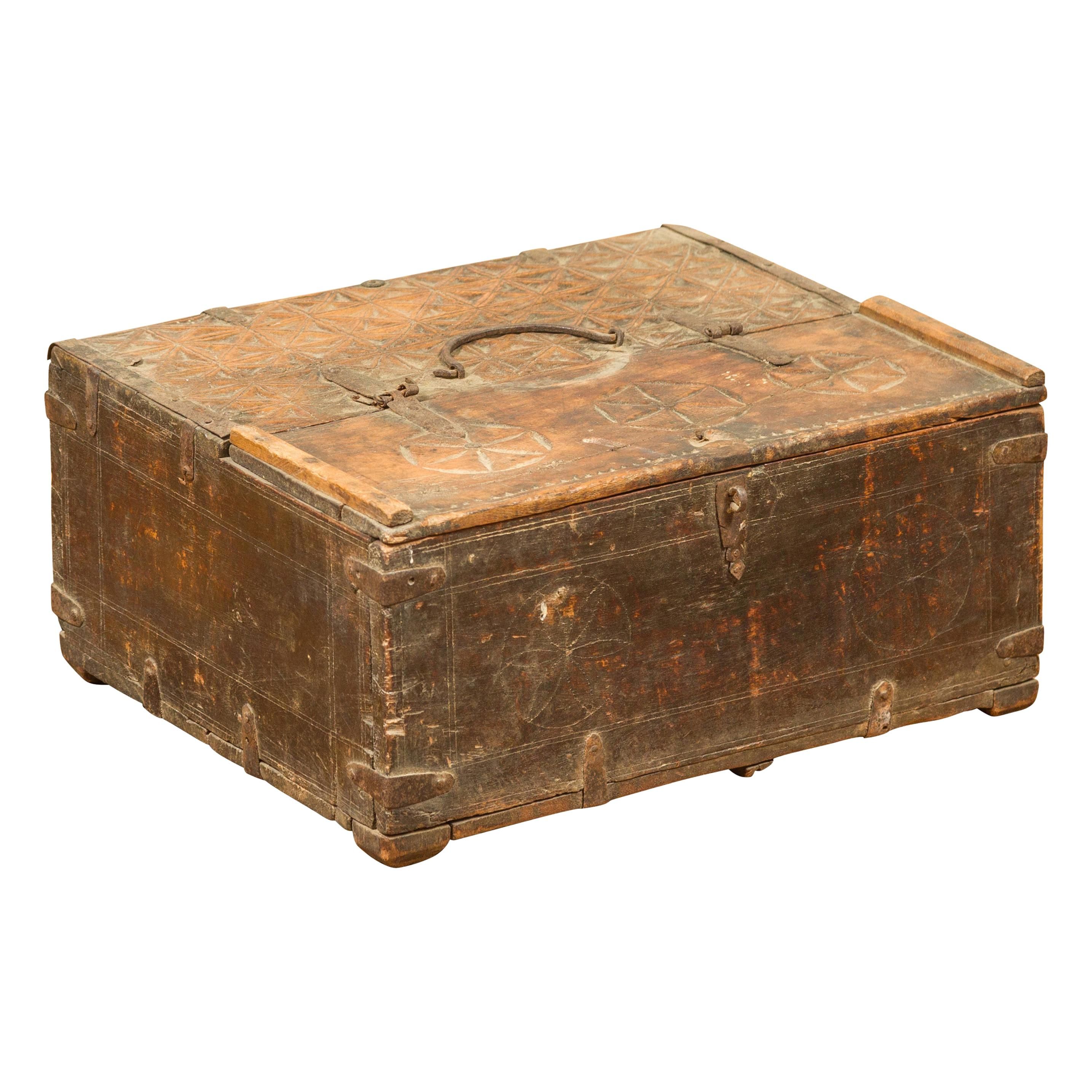 Indian Antique Wooden Dowry Box with Geometric Motifs and Weathered Patina